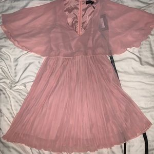 NWT - PrettyLittleThing Pink Pleated Skater Dress